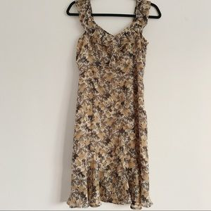 LOFT Fall Floral Midi Ruffle Dress